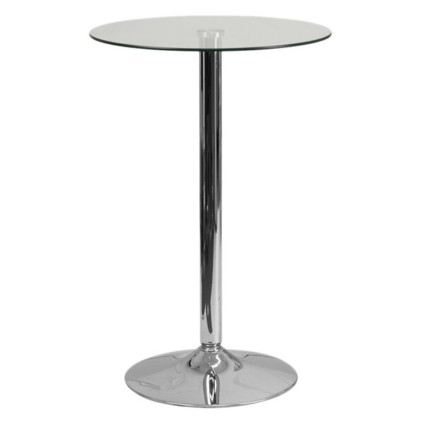 Delora Round Glass Pub Table by Orren Ellis