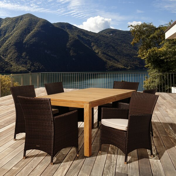 Bridgepointe 7 Piece Teak Dining Set with Cushions by Rosecliff Heights