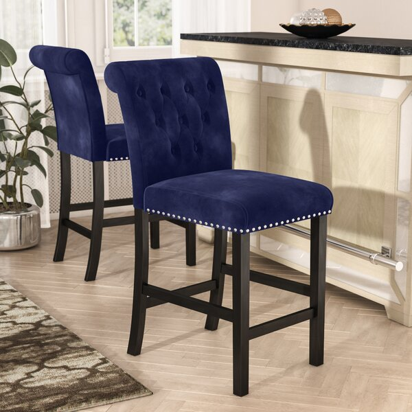 Erling Velvet Counter 26 Bar Stool (Set of 2) by Willa Arlo Interiors