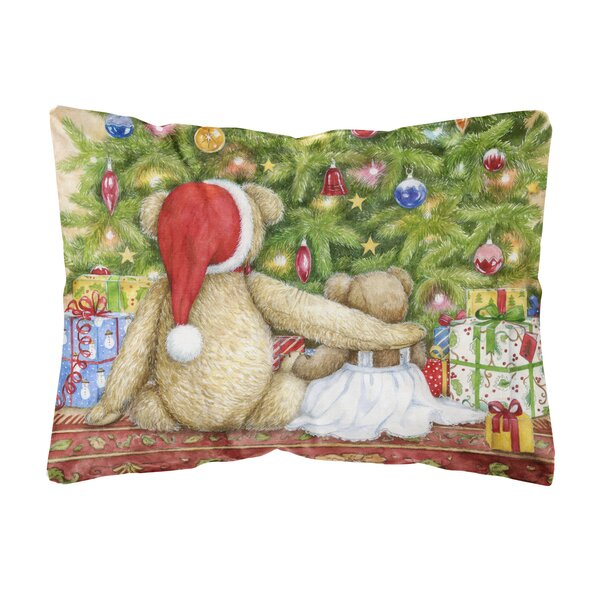 Macarthur Christmas Teddy Bears with Tree Fabric Indoor/Outdoor Throw Pillow by The Holiday Aisle