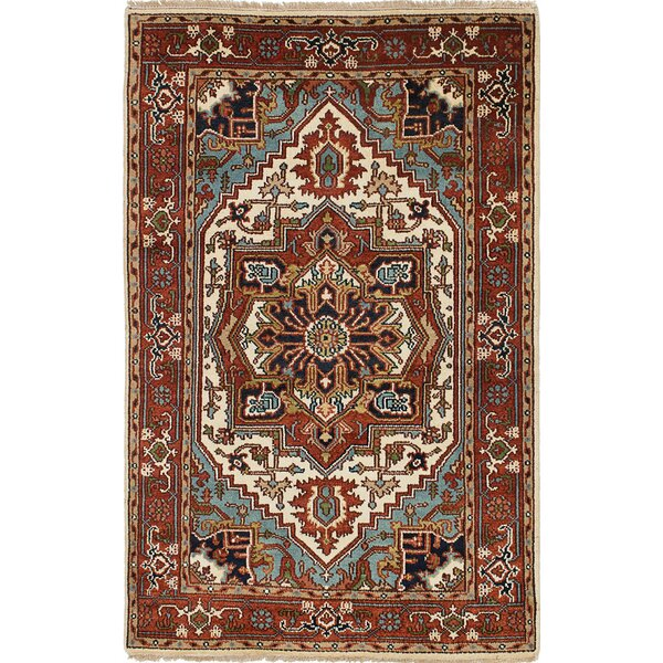One-of-a-Kind Doerr Traditional Hand Knotted Wool Dark Copper Fringe Area Rug by Isabelline