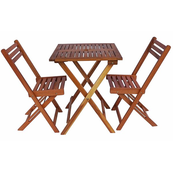 Arrighetto Foldable Square 3 Piece Bistro Set by August Grove