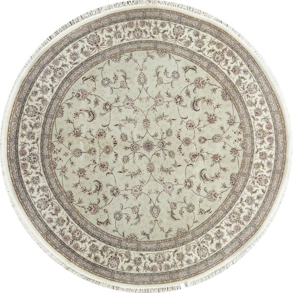 Round Oriental Hand-Knotted Taupe/Ivory Area Rug