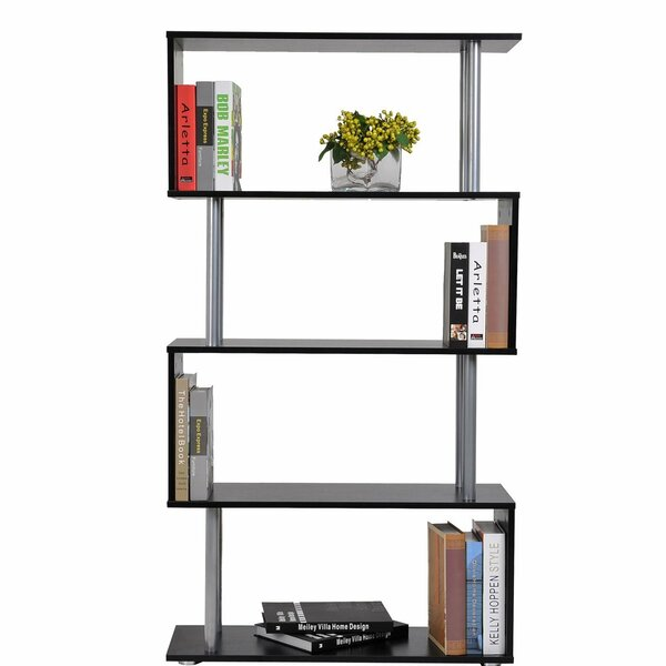 Makenna Modern S-Shaped 5 Tier Room Dividing Standard Bookcase by Ebern Designs