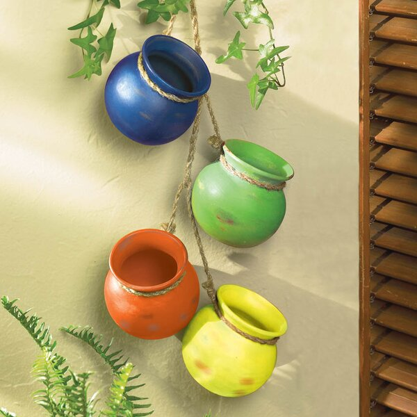 Terracotta Hanging Planter (Set of 4) by Zingz & Thingz