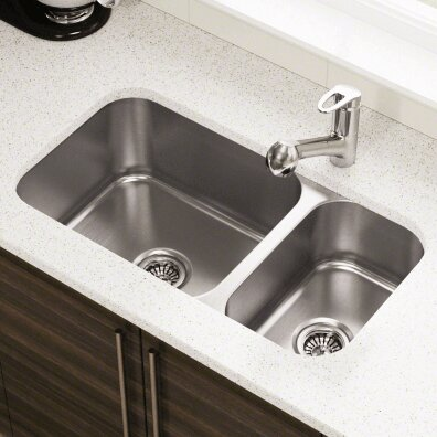 32.25 L x 18 W Offset Double Bowl Undermount Stainless Steel Kitchen Sink by Polaris Sinks