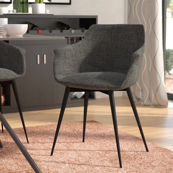 Bacote Upholstered Upholstered Solid Back Arm Chair In Black (Set Of 2) By Wade Logan