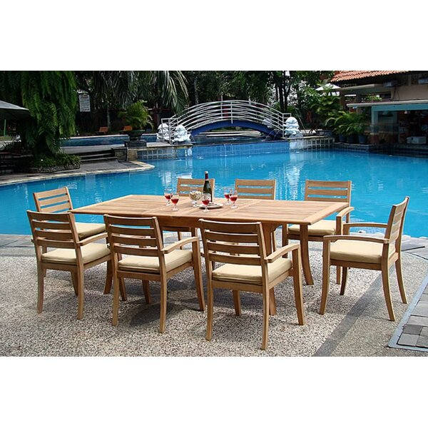Otega Luxurious 9 Piece Teak Dining Set by Rosecliff Heights