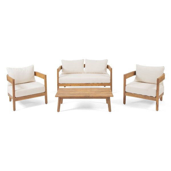 Vita Outdoor 4 Piece Sofa Seating Group With Cushions By George Oliver by George Oliver Spacial Price
