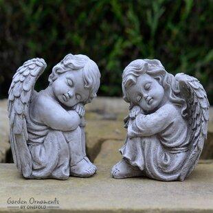 2 Piece Resting Angel Stone Garden Statue Set (Set Of 2)