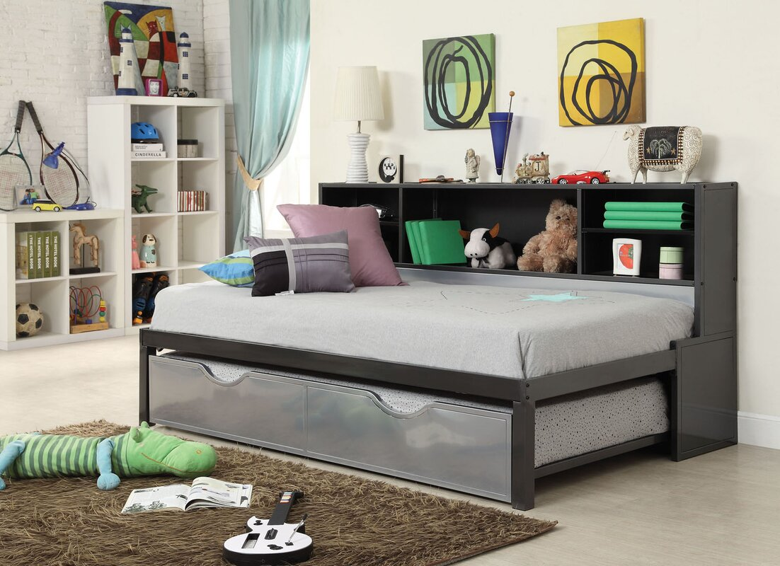 Elegant Renell Panel Bed With Bookcase And Trundle