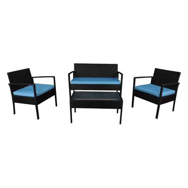 4 Piece Sofa Set with Cushions by Highland Dunes