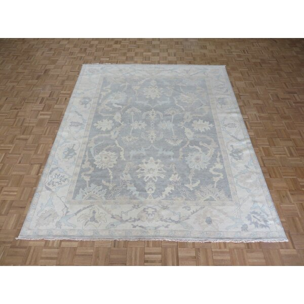 One-of-a-Kind Josephson Wash Turkish Oushak Hand-Knotted Silver Gray Area Rug by Canora Grey