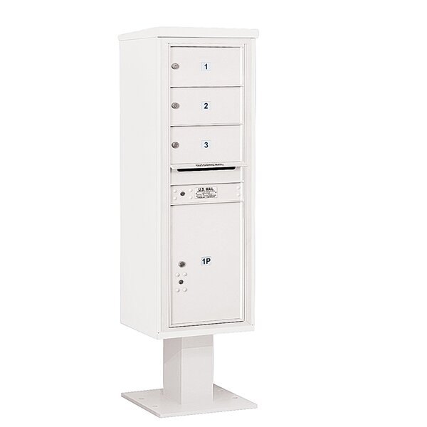 Pedestal Mounted 3 Units 5 Door Front Load 4C Horizontal Cluster Box Unit with 1 Parcel Locker by Salsbury Industries