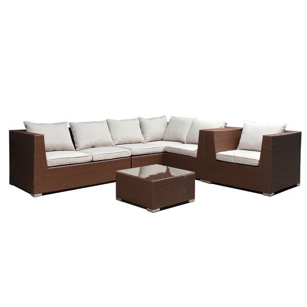Craddock Patio 5 Piece Sectional Seating Group with Cushions