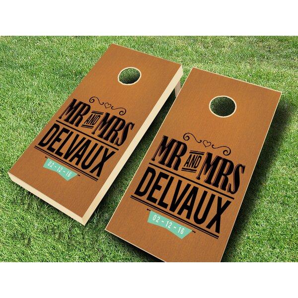 Mr. and Mrs. Wedding Stained Cornhole Set by AJJ Cornhole