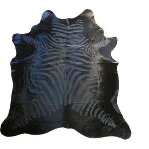 Etched Zebra Brazilian Cowhide Black Area Rug