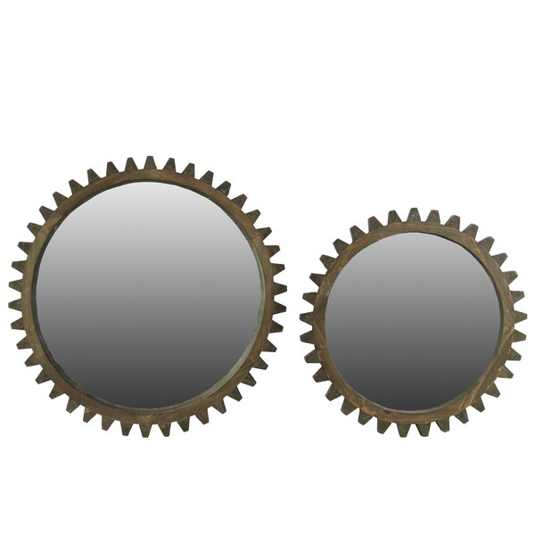Wooden Wall Mirror with Gear Inspired Frame Set of Two Natural Wood Finish by Urban Trends