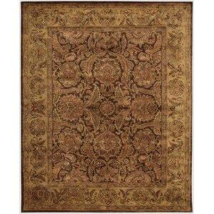 Bassham Hand-Woven Wool Brown Area Rug