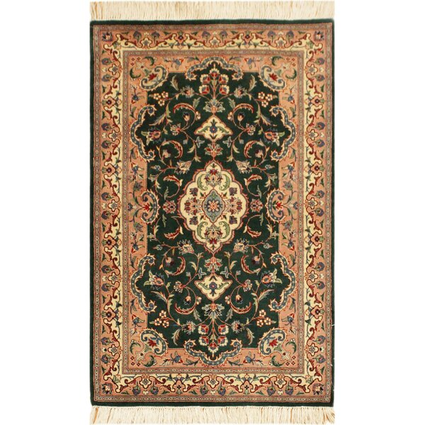 One-of-a-Kind Aaru Hand-Knotted Wool Green/Ivory Area Rug by Isabelline