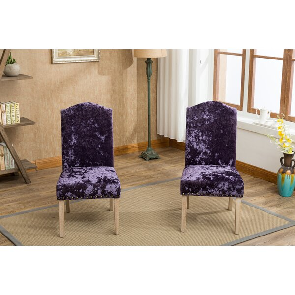 Wokefield Velvet Caen Nail Head Urban Ice Fabric Padded Parson Upholstered Dining Chair (Set of 2) by House of Hampton