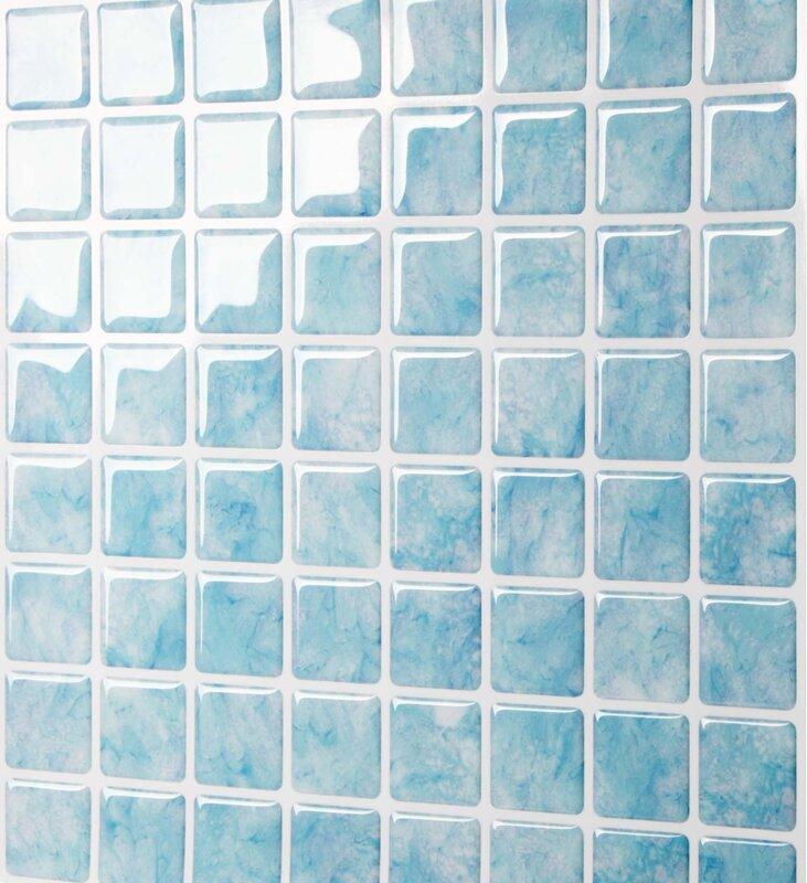 10 Quot X 10 Quot Peel Amp Stick Mosaic Tile In Aqua Vetro Amp Reviews