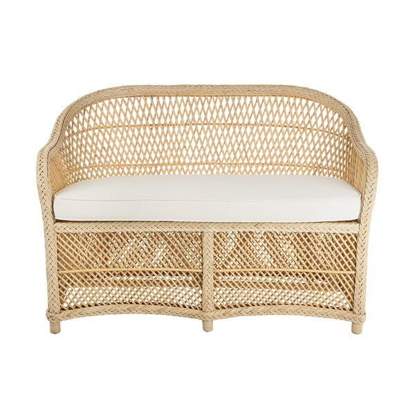 Grand Ridge Rattan Two-Seater Loveseat with Armrest by Rosecliff Heights