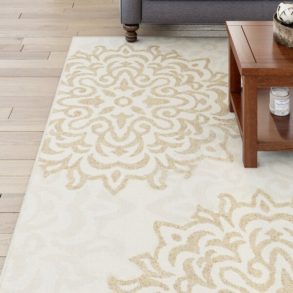 Edinburgh Beige Area Rug by Three Posts