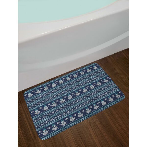 Snowman Pattern Geometric Angled Lines Chevron Zigzag Knitting Design Bath Rug by East Urban Home