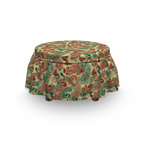 Ethnic Paisley Leaves 2 Piece Box Cushion Ottoman Slipcover Set By East Urban Home