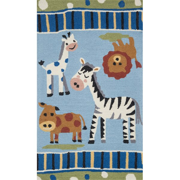 Izayah Kids Hand-Hooked Blue Area Rug by Zoomie Kids