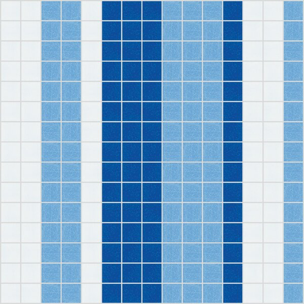 Urban Essentials Varied Stripes 3/4 x 3/4 Glass Glossy Mosaic in Lakefront Blue by Mosaic Loft