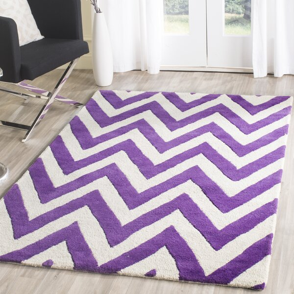 Charlenne Hand-Tufted Purple/Ivory Wool Area Rug by Zipcode Design