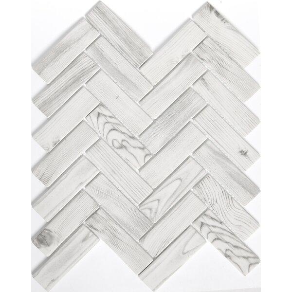 Echo Herringbone 1 x 2 Glass Mosaic Tile in White by Emser Tile