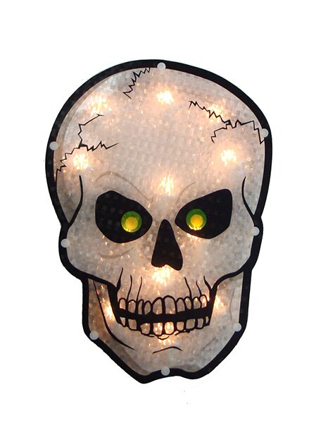 Holographic Skull Halloween Window Silhouette Decoration by Sienna Lighting