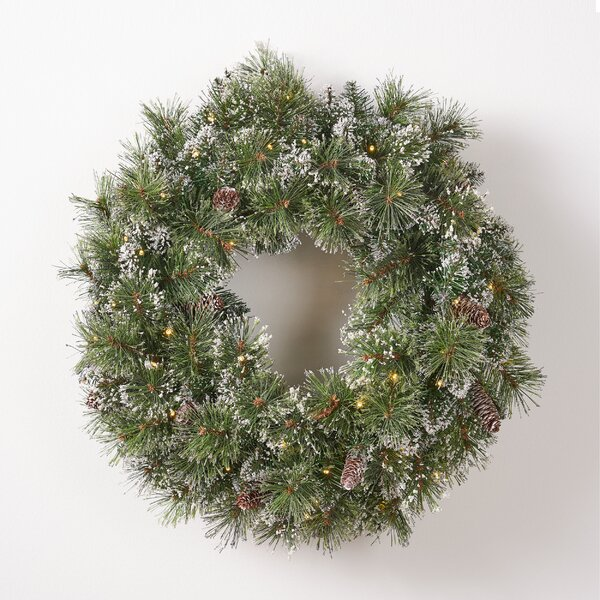 Mixed Spruce 24 Lighted PVC Wreath by The Holiday Aisle