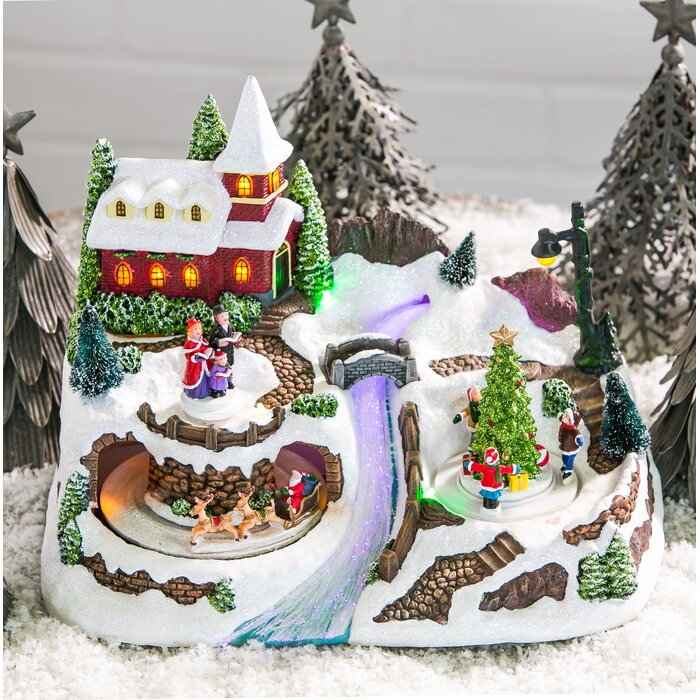 Christmas Villages.Christmas Village With River Led Scene