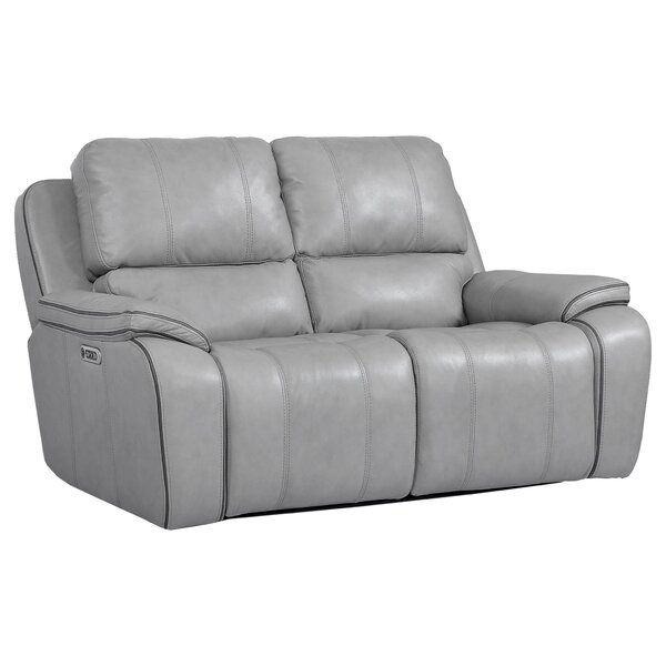 Home & Garden Aycock Leather Reclining Loveseat