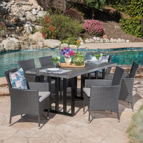 Younes Outdoor 7 Piece Dining Set with Cushions by Rosecliff Heights