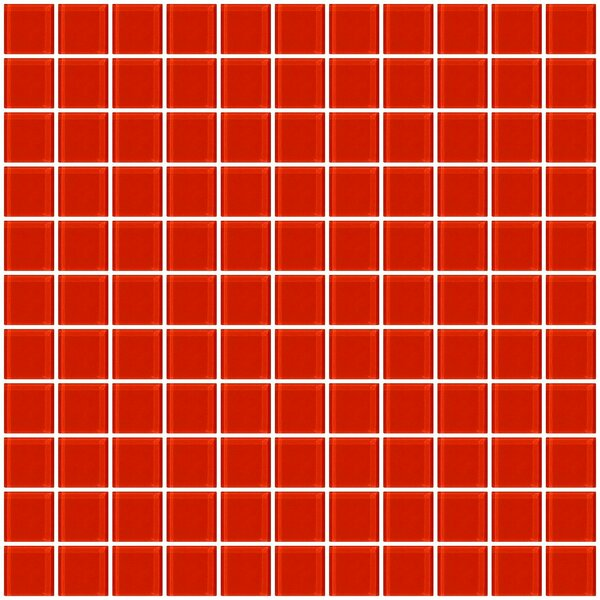 1 x 1 Glass Mosaic Tile in Tomato Red by Susan Jablon