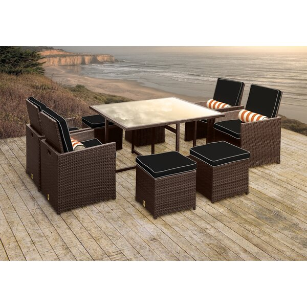 Stella II Patio Rattan 9 Piece Dining Set with Cushions and Cylinder Toss Pillows