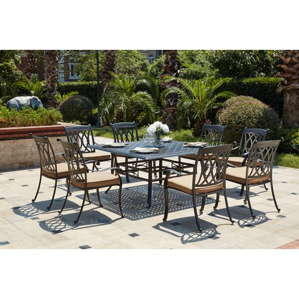 Melchior Traditional 9 Piece Rectangular Dining Set with Cushions