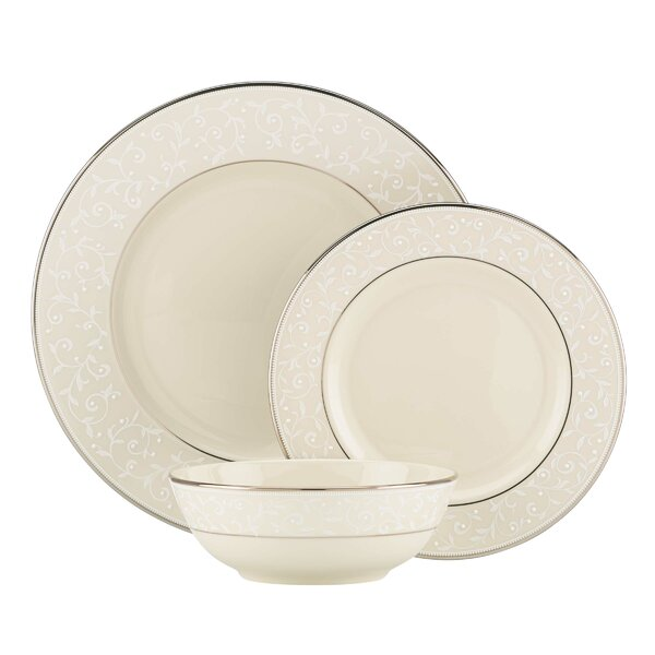 Pearl Innocence Bone China 3 Piece Place Setting, Service for 1 by Lenox