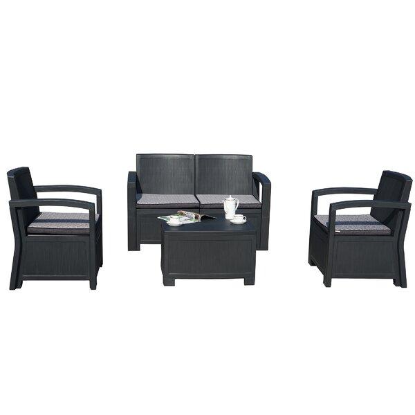 Alsiha 4 Piece Sofa Seating Group with Cushions by Latitude Run
