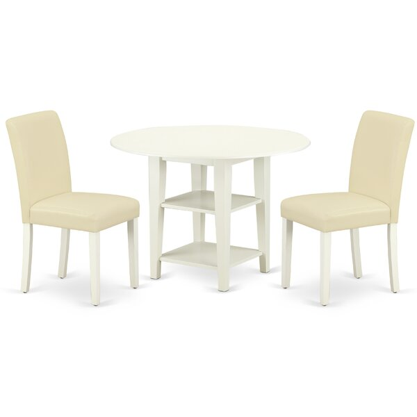 Daryll 3 Piece Drop Leaf Solid Wood Breakfast Nook Dining Set by Winston Porter Winston Porter