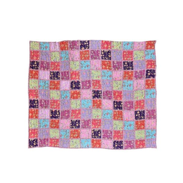 Aya Patchwork Cotton Block Print In Pink Single Reversible Quilt