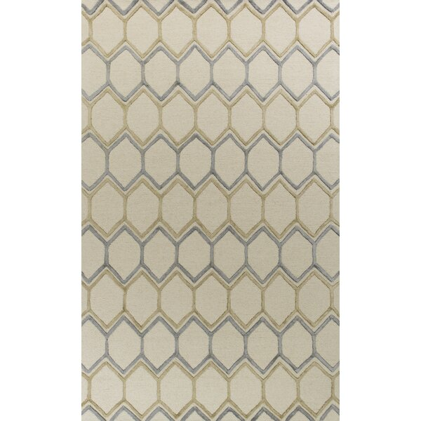 Buckleys Honeycomb Hand-Tufted Wool Ivory Area Rug by George Oliver