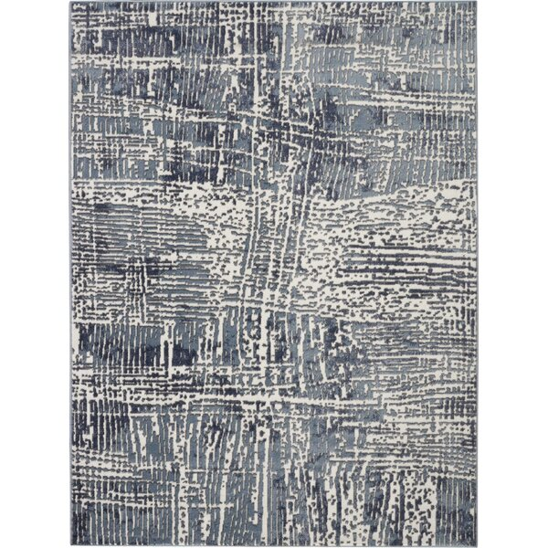 Engleman Contemporary Blue/Ivory Area Rug by Wrought Studio