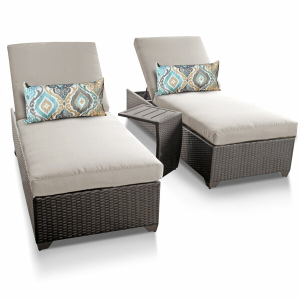 Medley Sun Lounger Set with Cushion and Table (Set of 2) by Rosecliff Heights