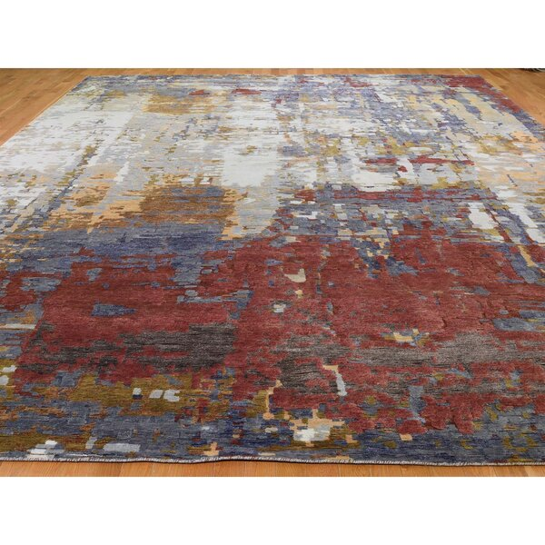 One-of-a-Kind Anonymous Hand-Knotted Red 12' x 14'9 Area Rug